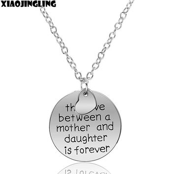 "XIAOJINGLING ""Love Between Mother and Daughter Forever""Charm Round Heart Shape Pendant Necklace Link Chain Woman Jewelry Gift"