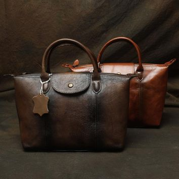 Women's Vintage Retro Genuine Leather Handbag Briefcase Portfolio