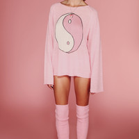 YING YANG PENNY SWEATER at Wildfox Couture in  MALL FOUNTAIN, BEL AIR PINK
