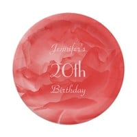 Elegant, Classy Coral Pink Rose, 20th Birthday Paper Plate