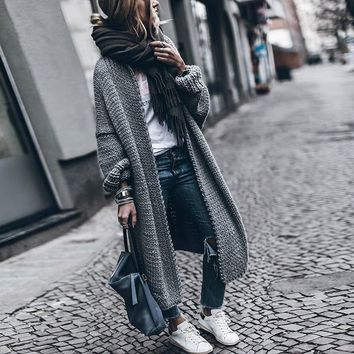GETSRING Winter Women Cardigans Knitted Jacket Free Size Thickened Solid Loose Bat Sleeve Long Winter Cardigan Coat Sweater