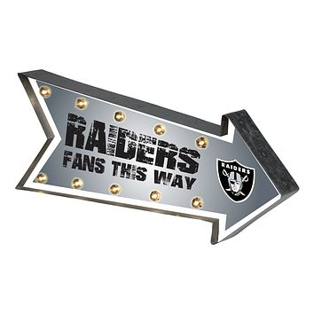 Oakland Raiders Sign Marquee Style Light Up Arrow Design