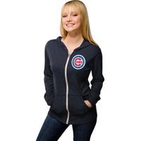 Chicago Cubs Women's Navy Blue Ballpark Full-Zip Lightweight Tri-Blend Hoodie