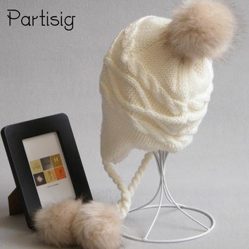 Children's Hats Winter Racoon Fur Hats For Kids Girls And Boys Baby Crochet Ear Flap Hat Winter Kids Adult Caps