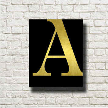 A Letter Gold Black Printable Instant Download Wall Art Print Home Decor GN56black