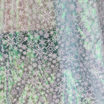 Frozen Fabric Rare Queen Elsa White Snowflake Organza Disney Fabric with Silver White Sparkle Snowflakes Cape and Costume Fabric By The Yard