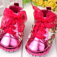 Baby Kids Girls Rose Flower Shoes Lace Soft Sole Casual Toddler Shoes Prewalkers NW