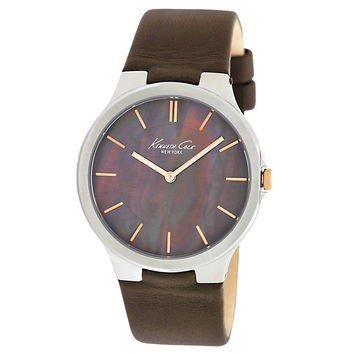 Kenneth Cole KC2705 Women's Brown Mother of Pearl Dial Brown Leather Strap Steel Watch