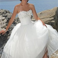 Strapless Natural Waist Applique Net With Stain Ball Gown Wedding Dress WD0033