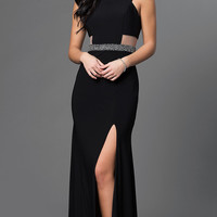 Long Xscape Black Dress with Slit