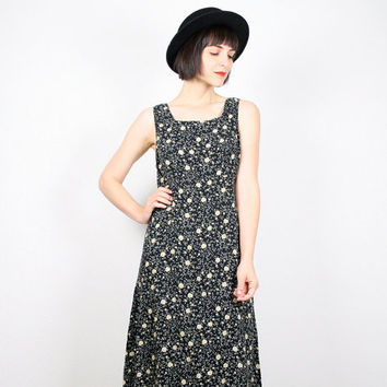 Vintage 90s Dress Midi Dress Black Liberty Floral Print Sundress 1990s Dress Soft Grunge Dress Ditsy Floral Print Dress M Medium L Large