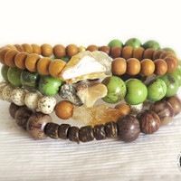 Citrine and Sandalwood Beaded Bracelet / Reiki Yoga Jewelry / Boho Earthy Eco-friendly Stacking Bracelet