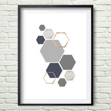 Grey and Rose Print Gray and Copper Wall Art Geometric Print Honeycomb Art Hexagon Poster Scandinavian Print Gray Copper Home Decor *151*