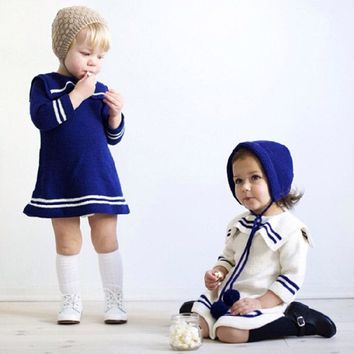 Girl Knitted Sweater Dress Baby Pullovers Sweaters Navy Girls Sweater 2016 Autumn Winter Infant Sweater Toddler Clothes