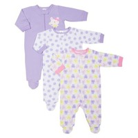 Gerber Onesuits® Newborn Girls' 3 Pack Zip Front Sleep N' Play - Bunny