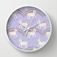 Unicorn Pattern on Pastel Purple Wall Clock by Tangerine-Tane