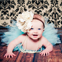 Sky Blue Tutu Set with Matching White Flower Headband Newborn Photography Prop Newborn-5t Tutu Set