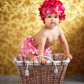 Hydrangea Flower Hat Newborn Infant  Easter Spring Valentine Wedding Photo Session  Prop Plum Pink Red White Blue Green Cream