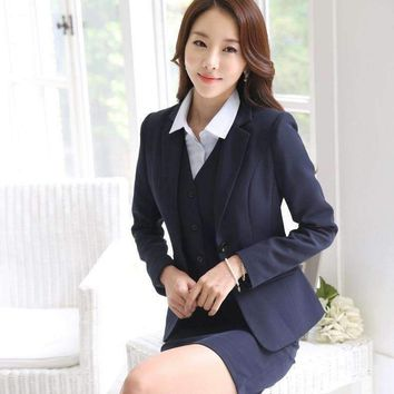 Formal Blazer Women Business Suits With Skirt + Jacket + Waistcoat Sets Ol Ladies Office Uniform Style
