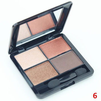 4 Colours Nude Makeup Pearl Matte Eyeshadow Palette with Mirror and Brush