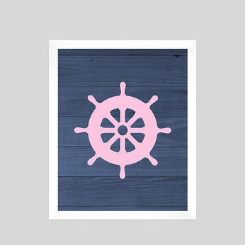 Pink Nautical Wheel On Navy Wood Print Nursery Decor Baby