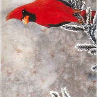 The red cardinal in winter Beach Towel