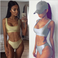 Fashion sexy hot two piece two piece bikini light Silver bath suit Silver