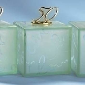 """Set of 3 4"""" 50th Gold Wedding Anniversary White Filled Glass Candle Jars #11892"""