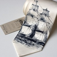 Clipper ship silkscreen necktie navy ink on cream by toybreaker
