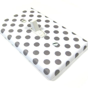 White and Gray Polka Dots Light Switch Cover Nursery Decor Grey and White Decoration