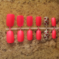 "Hot Pink Glitter Cheetah Fake Nails in ""Party Me Pretty"""
