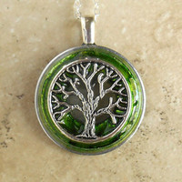 tree of life necklace: green - wiccan pendant - celtic jewelry - tree jewelry - earthy jewelry - unique jewelry - pendant necklace
