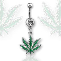 Green Marijuana Pot Leaf Dangle Navel Ring Belly Button Piercing Jewelry W/clear Cz Gem
