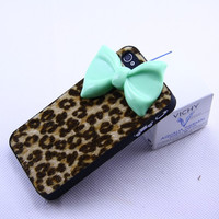 Iphone 4 4s case cover,Black  bowknot  iphone 4 4s Case, Luxury leopard  Iphone 4S,handmade iphone 4 4s
