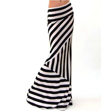 Asymmetric Striped Maxi Skirt