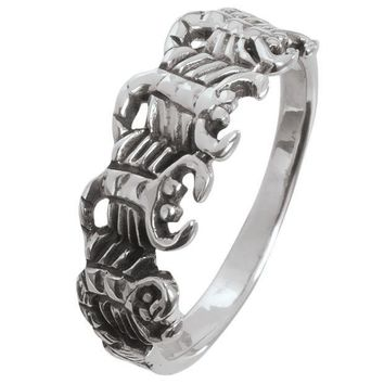 ICIK8UT Scorpion Circle Sterling Silver Ring