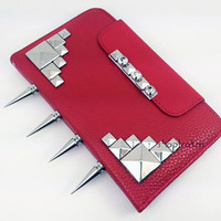 Candy apple red faux leather wallet clutch case for Samsung Galaxy Note 2 II with long silver knuckle spikes studs and rhinestones