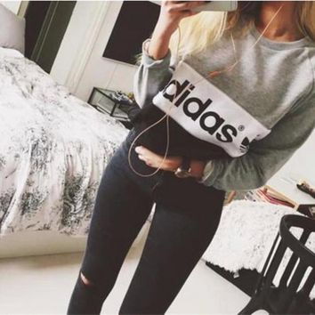 """Adidas""Fashion Letter Print Leisure Top Sweater Sweatshirt"