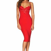 Sweetheart Lace Bodycon Midi Dress