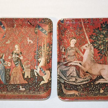 Melamine Trinket Tray Set of Two, Renaissance Lady and Unicorn Mebel Trays Made in Italy