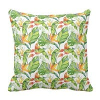 Tropical Hawaiian Flowers Leaves Pattern Throw Pillow