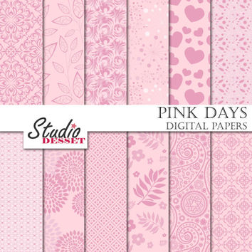 Pink Digital Papers, Wedding Backgrounds, Spring Flowers, Dahlia, Paisley, Hearts and Leaves, Scrapbooking Supplies A244