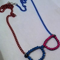 Fun two toned pink and blue bling rhinestone glasses necklace, geekery geek jewelry
