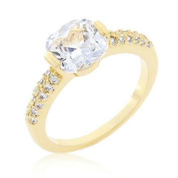 Clear Cushion Cut Cubic Zirconia Engagement Ring, Size 6