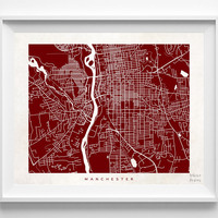 New Hampshire, Manchester, Print, Map, NH, Poster, State, City, Street Map, Art, Decor, Town, Illustration, Room, Wall Art, Customize