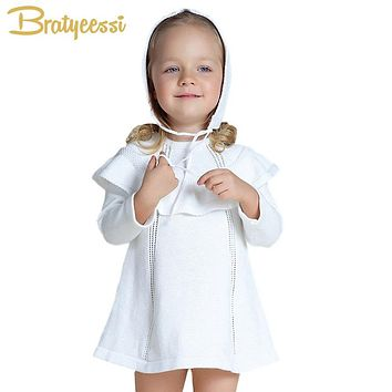 Princess Knitted Baby Girl Dress with Hat Long Sleeve Vestido Infantil A Line Cotton Baby Girl Clothes White/Red