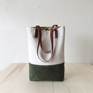 Waxed Canvas Tote White organic canvas Military Green Brown Leather Straps Handmade Shoulder Tote Bag
