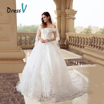 DressV Lace Princess Ball Gown Wedding Dresses Off-the-shoulder Beaded Sequins Crystals Appliques Lace Bridal  Wedding Gowns