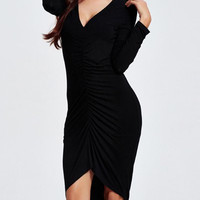 Chic Plunging Neck Ruched Asymmetrical Dress
