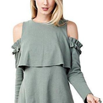 Easel Women's Ponti Knit Long Sleeved Cold Shoulder Tunic With Front and Back Overlay